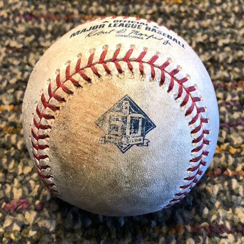 Photo of 2018 San Francisco Giants - Game-Used Baseball - Andrew McCutchen singles off of Zack Godley, Buster Posey pop out and Evan Longorai ball (April 9, 2018)