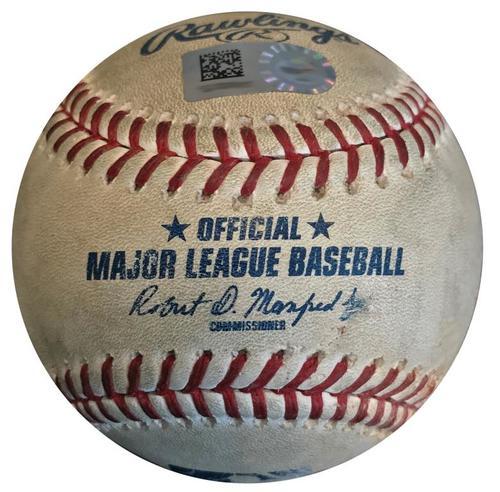 Photo of Game-Used Baseball from Pirates vs. Padres on 5/17/18 - Galvis Single, Margot Walk, Lauer Sac Bunt, Jankowski Foul Bunt