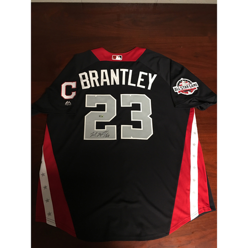 Photo of Michael Brantley 2018 Major League Baseball Workout Day Autographed Jersey