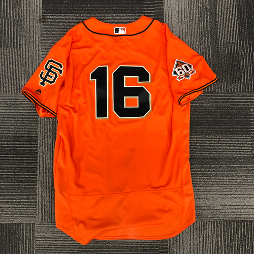 Photo of San Francisco Giants - 2018 Game Used Orange Home Alternate Jersey - Worn by #16 Aramis Garcia on 9/28 vs. LAD - 2-3, 1 BB - Size 48