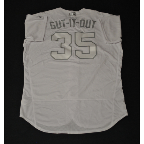 "Photo of Jake ""GUT IT OUT"" Diekman Oakland Athletics Game-Used 2019 Players' Weekend Jersey"