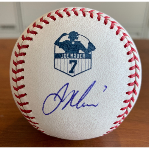Photo of Minnesota Twins: Autographed Joe Mauer Number Retirement Logo Baseball