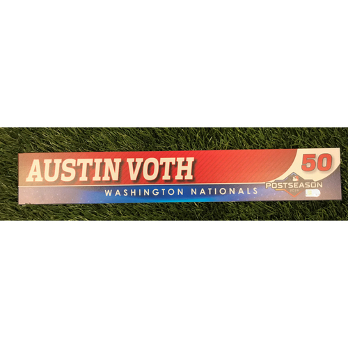 Photo of Game-Used Austin Voth 2019 Postseason Locker Tag