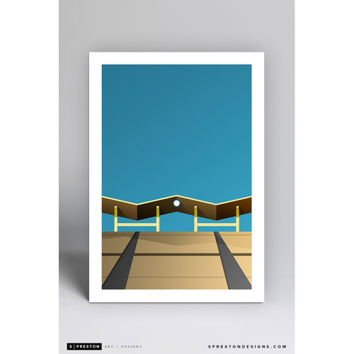 Photo of Dodger Stadium Outfield Pavilion - Minimalist Ballpark Art Print by S. Preston  - Los Angeles Dodgers
