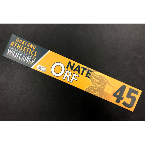 Photo of Game-Used 2020 AL Wild Card Locker Nameplate - Nate Orf
