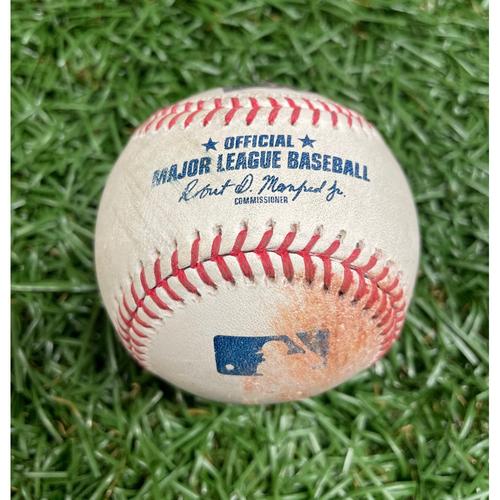 Photo of Game Used Baseball: Kevin Kiermaier single off Logan Allen - Bottom 4 - July 5, 2021 v CLE