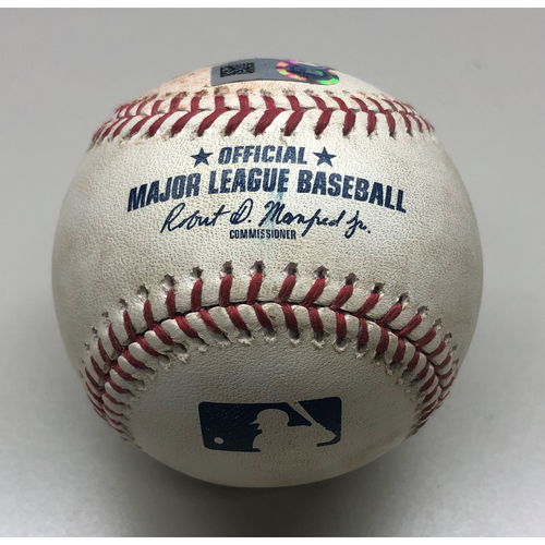 Photo of Game-Used Baseball: Mike Moustakas Flyout to LF - Bryan Reynolds Robs Home Run - 8/5/2019