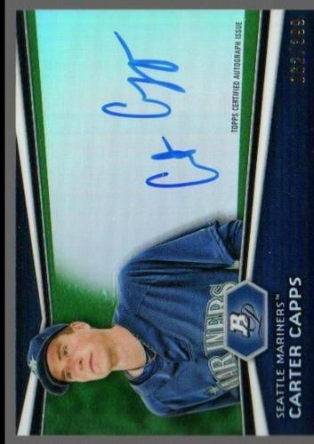 Photo of 2012 Bowman Platinum Prospect Autographs Green Refractors #CC Carter Capps