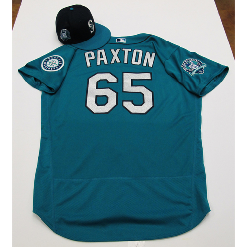 Photo of James Paxton Green Team-Issued Jersey & Cap With Edgar Martinez Patch 8-11-2017 - Sizes: Jersey - 48, Cap 7 1/4
