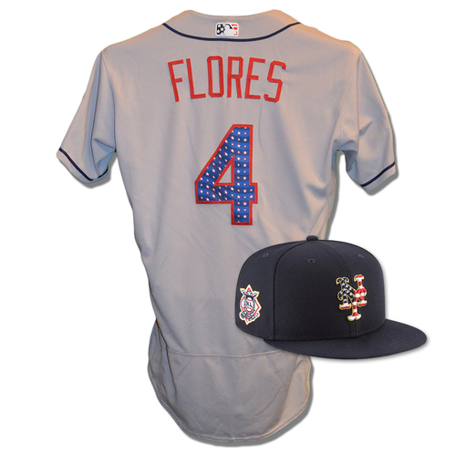 Photo of Wilmer Flores #4 - Game Used 4th of July Jersey and Hat - Flores Goes 2-4, Run Scored - Mets vs. Blue Jays - 7/4/18