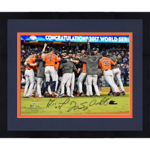 "Photo of Jose Altuve, Alex Bregman, and George Springer Houston Astros 2017 MLB World Series Champs Framed Autographed 16"" x 20"" Dogpile Photo"