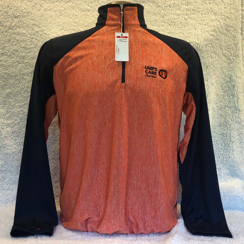 Photo of UMPS CARE AUCTION: UMPS CARE Antigua Playmaker Pullover, Navy/Dark Orange, Size Medium
