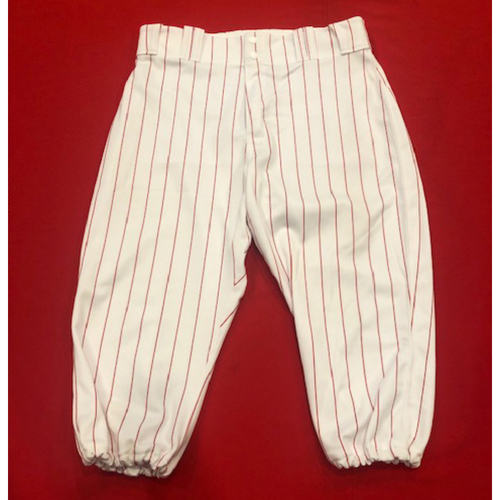 Photo of Yasiel Puig -- 1967 Throwback Pants (Final Reds Throwback Worn Before Being Traded - Starting RF) -- Game-Used for Rockies vs. Reds on July 28, 2019 -- Pants Size: 37-42-18