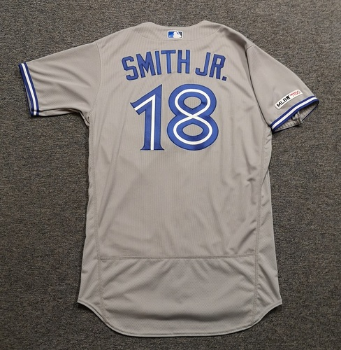 Photo of Authenticated Team Issued 2019 Jersey - #18 Dwight Smith Jr. Size 44.