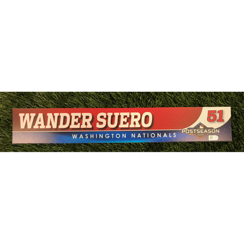 Photo of Game-Used Wander Suero 2019 Postseason Locker Tag