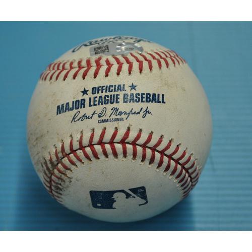 Photo of Game-Used Baseball - Pitcher - Eduardo Jimenez, Batters - Kole Kalhoun/Kevan Smith - Walk/Ball in Dirt - Albert Pujols 2,000th RBI Game - 5/9/2019