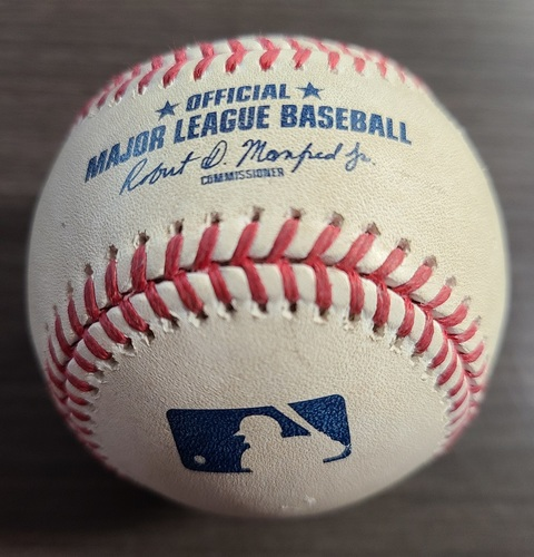 Photo of Authenticated Game Used Baseball: Foul by Rowdy Tellez against Paul Fry (Aug 30, 20 vs BAL). Bottom 6. Game played in Buffalo.