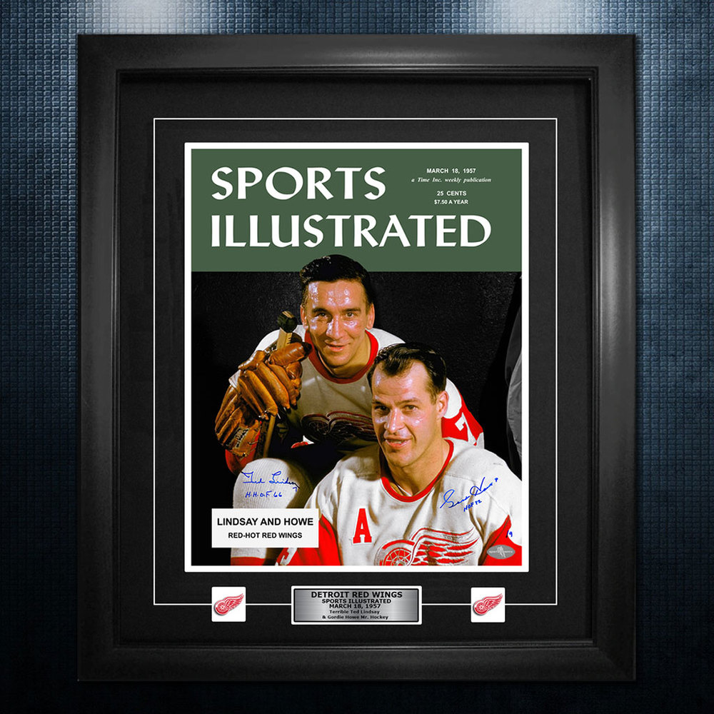 Gordie Howe Ted Lindsay Detroit Red Wings Autographed Sports Illustrated 26x32 Frame