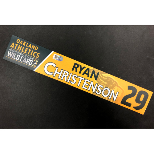 Photo of Game-Used 2020 AL Wild Card Locker Nameplate - Ryan Christenson