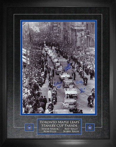 16x20 1967 Stanley Cup Bay St Parade Photo Framed Signed by Bower/ Shack/ Kelly and Baun