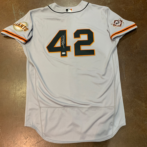 Photo of 2021 Autographed Team Issued Jackie Robinson 42 Day Road Jersey - #47 (42) Johnny Cueto - Size 46