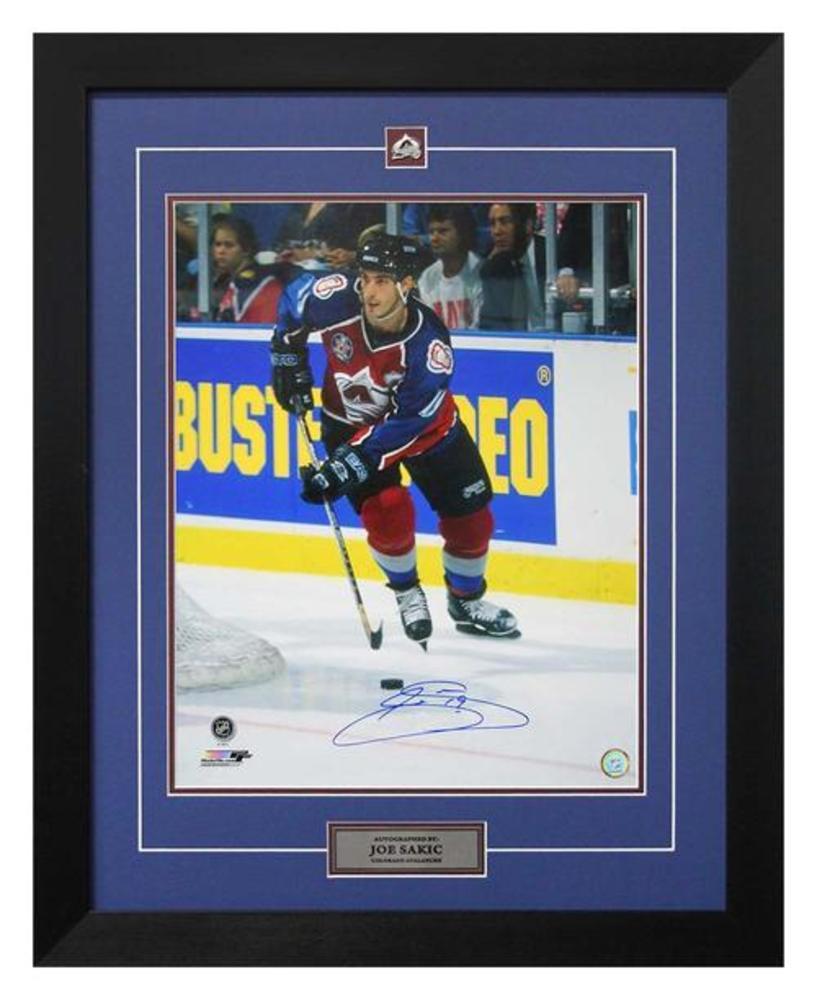 Joe Sakic Colorado Avalanche Autographed 1996 Cup Finals Action 26x32 Frame
