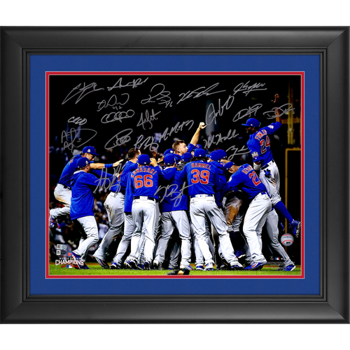 "Photo of Chicago Cubs 2016 MLB World Series Champs Framed Autographed 16"" x 20"" Celebration Photo with 18+ Signatures - L. E. of 150"