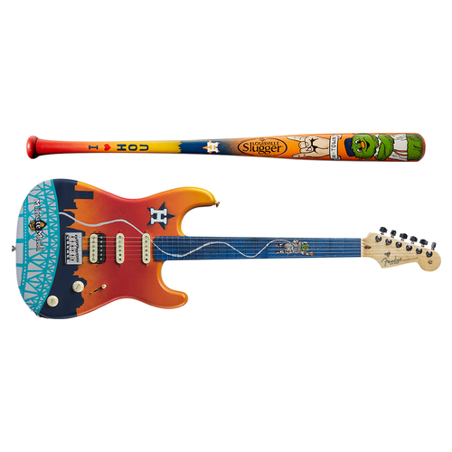 Photo of One-of-a-kind Artist-Painted Astros Louisville Slugger Bat and Fender Stratocaster Guitar