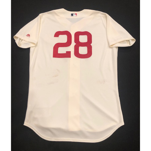 Photo of Anthony DeSclafani -- Game-Used 1936 Throwback Jersey (Starting Pitcher: W-5, 6.0 IP, 0 R, 7 K) -- Cubs vs. Reds on June 30, 2019 -- Jersey Size 46