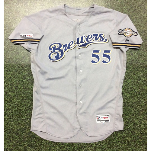 Photo of Marcus Hanel 2019 Game-Used Road Grey Jersey