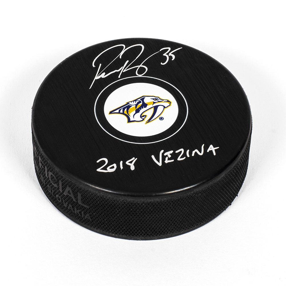 Pekka Rinne Nashville Predators Autographed Hockey Puck with 2018 Vezina Note
