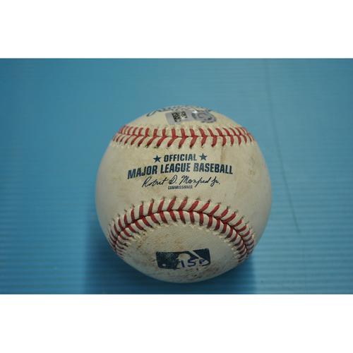 Photo of Game-Used Baseball - Pitcher - Mike Leake, Batter - Albert Pujols - Ball - Balls 1, Strikes, 0 - Top 4th - 3,000th Hit Game - 5/4/2018