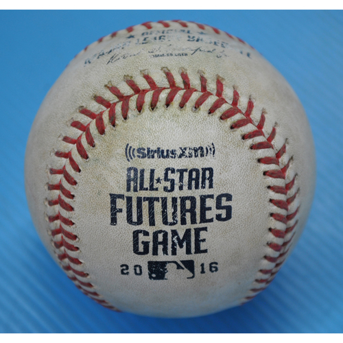 Photo of Game-Used Baseball - 2016 All-Star Futures Game - Pitcher: Alex Reyes, Batter: Ryon Healy - 2nd Inning - Double