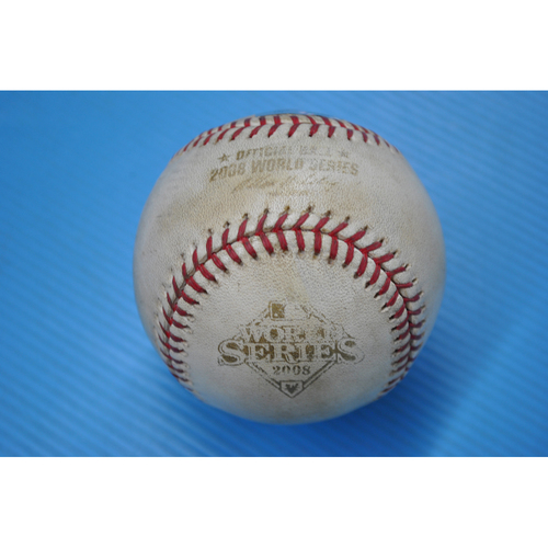 Photo of Game-Used Baseball - 2008 World Series - Game 1 - Pitcher: Scott Kazmir, Batter - Ryan Howard - Walk - 5th Inning
