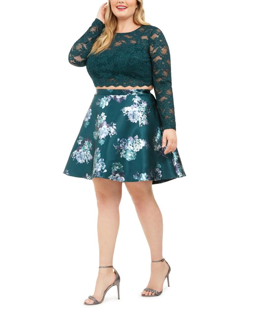 Photo of City Studios Trendy Plus Size 2-Pc. Lace & Floral-Print Dress