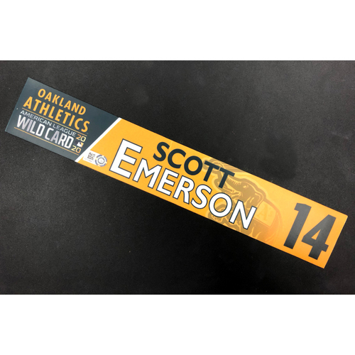 Photo of Game-Used 2020 AL Wild Card Locker Nameplate - Scott Emerson