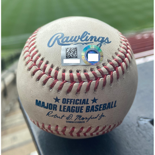 Cardinals Authentics: Game-Used Baseball Pitched by Jack Flaherty to Willy Adames *Home Run*