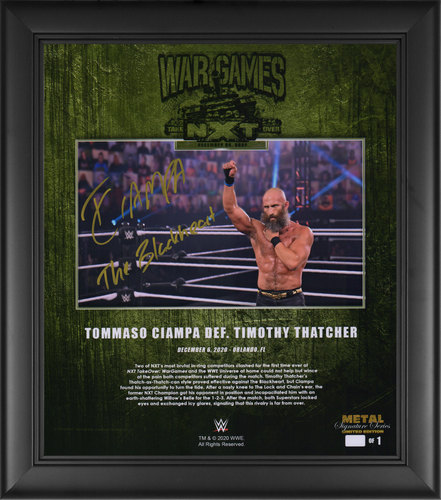 Photo of Ciampa SIGNED NXT TakeOver WarGames 2020 Signature Series Plaque (#1 of 1)