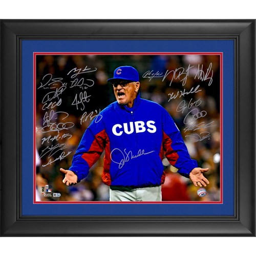 "Photo of Chicago Cubs 2016 MLB World Series Champs Framed Autographed 16"" x 20"" Joe Maddon Photo - 15+ Signatures"