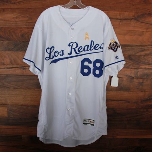Photo of Game-Used Los Reales Jersey: Jake Newberry (Size 48 - BAL @ KC - 9/1/18)