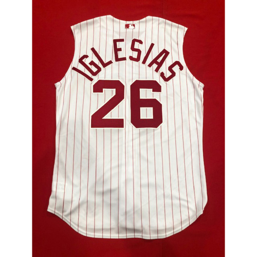 Photo of Raisel Iglesias -- Game-Used 1995 Throwback Jersey (Relief Pitcher: W-3, 1.0 IP, 0 H, 0 R) -- D-backs vs. Reds on Sept. 8, 2019 -- Jersey Size 46