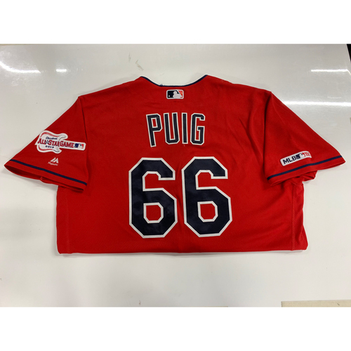 Photo of Yasiel Puig Game Used Alternate Home Jersey 9/18/19 (4-5, Walk-Off Hit in 10th Inning)