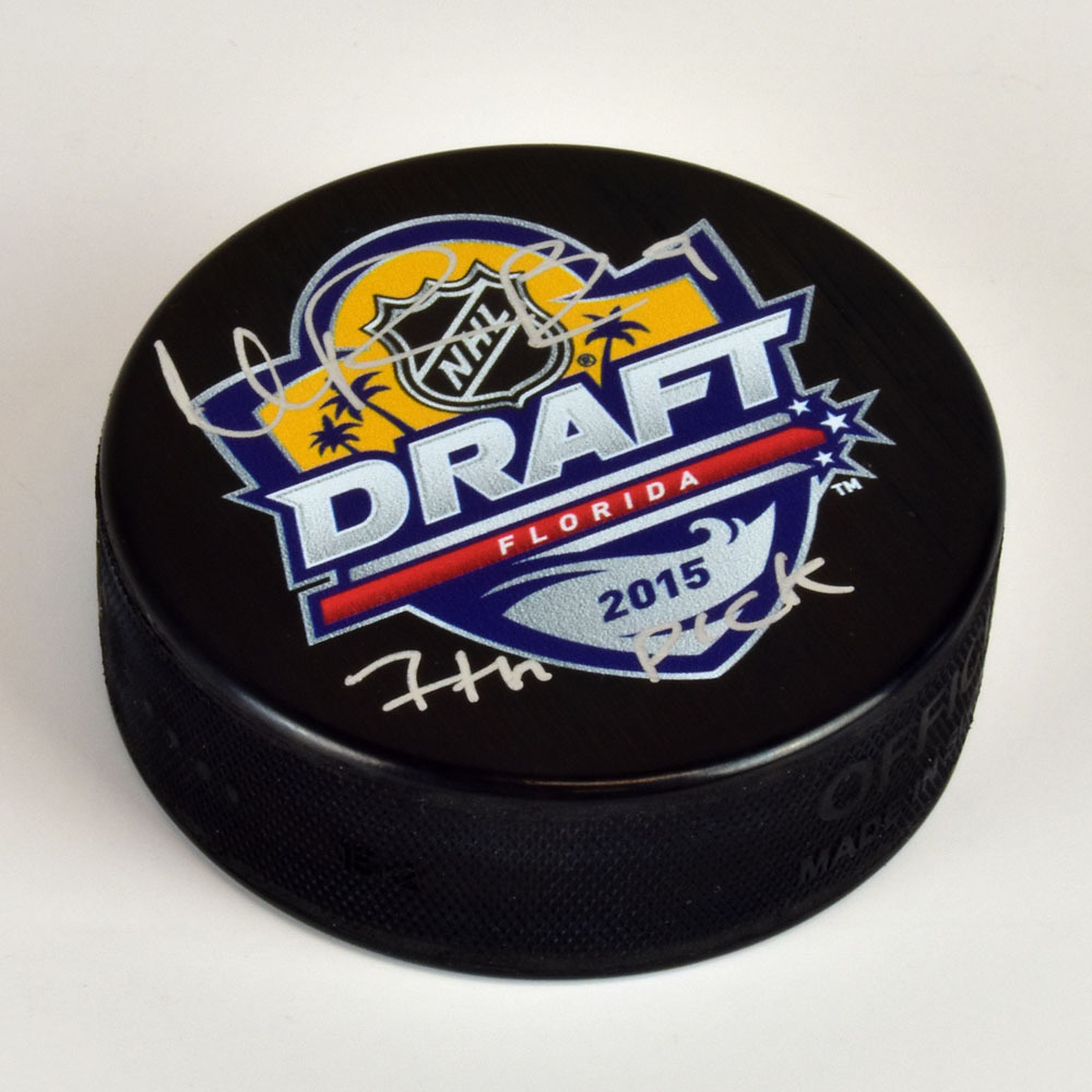 Ivan Provorov 2015 NHL Draft Day Autographed Hockey Puck with 7th Pick Note *Philadelphia Flyers*