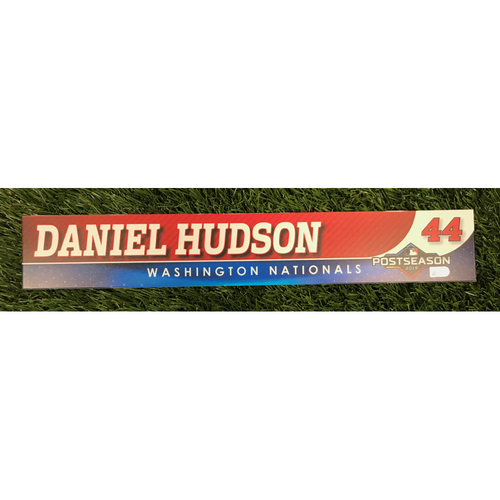 Photo of Game-Used Daniel Hudson 2019 Postseason Locker Tag