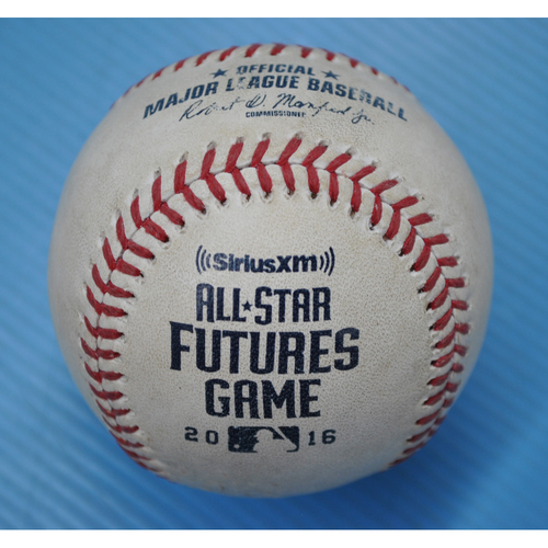 Photo of Game-Used Baseball - 2016 All-Star Futures Game - Pitcher: Anthony Banda, Batter: Eloy Jimenez - 8th Inning - Pitch in Dirt