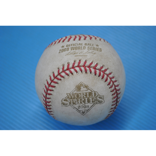 Photo of Game-Used Baseball - 2008 World Series - Game 1 - Pitcher: Cole Hamels, Batter - Scott Kazmir - Foul - 5th Inning