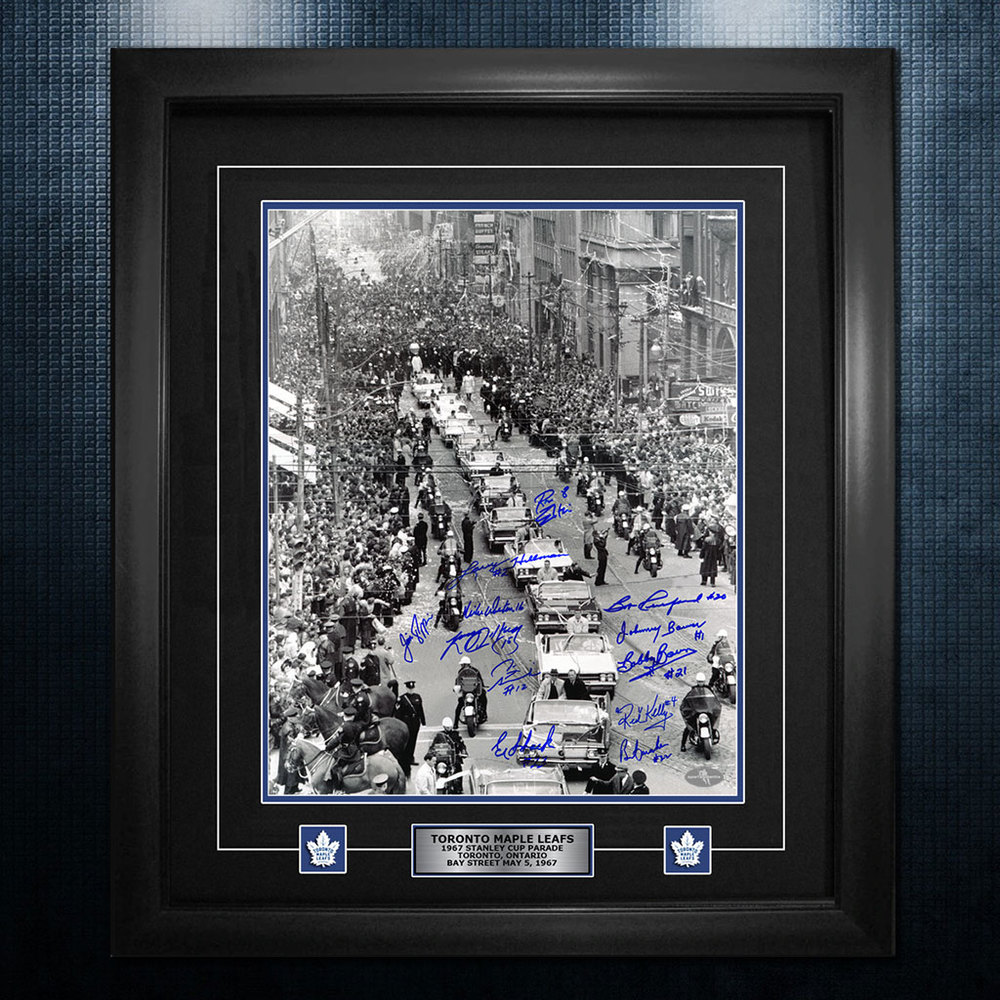 1967 Stanley Cup Parade Toronto Maple Leafs Autographed 26x32 Frame