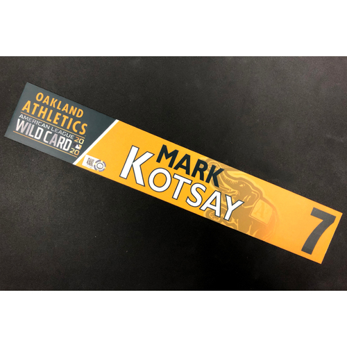 Photo of Game-Used 2020 AL Wild Card Locker Nameplate - Mark Kotsay
