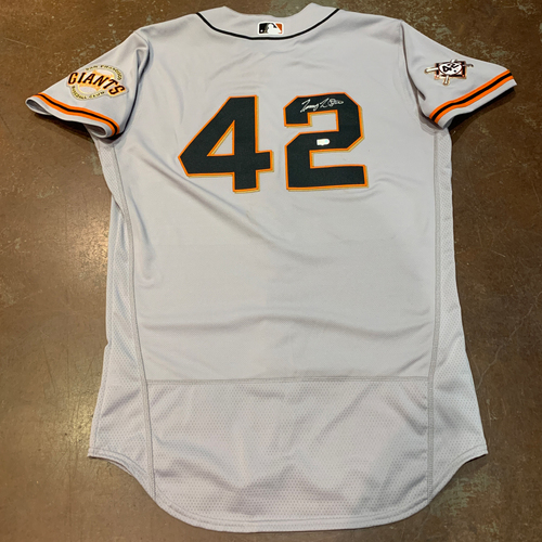 Photo of 2021 Autographed Game Used Jackie Robinson 42 Day Road Jersey worn by #18 (42) Tommy La Stella on 4/16 @ MIA - Size 42