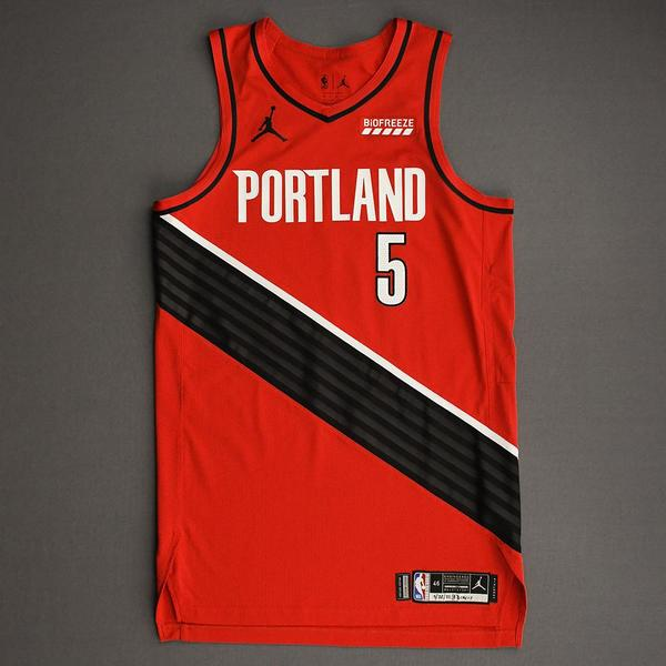 Image of Derrick Jones Jr. - Portland Trail Blazers - Game-Worn Statement Edition Jersey - Dressed, Did Not Play (DNP) - 2021 NBA Playoffs